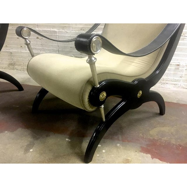 Style of Andre Arbus Pair of Neo Classic Lounge Chairs For Sale - Image 6 of 7