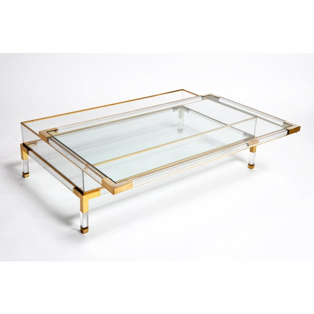 Chrome Vintage 1970s Sliding Glass Top Coffee Table Attributed to Maison Jansen For Sale - Image 7 of 13