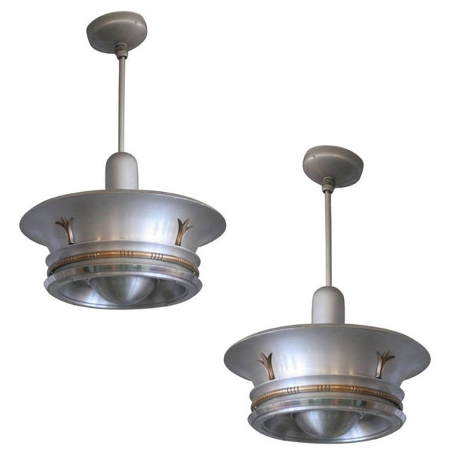 Aluminum Ceiling Pendants With Neoclassical Accents - A Pair For Sale In Los Angeles - Image 6 of 6