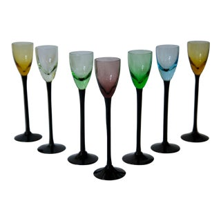 Late 20th Century Vintage Stemmed Colorful Cordial Glasses - Set of 7 For Sale
