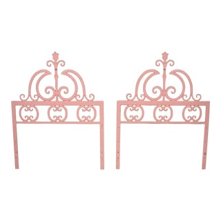 Mid 20th Century Vintage Italian Gothic Iron Hollywood Regency Twin or King Bed Headboard - a Pair For Sale