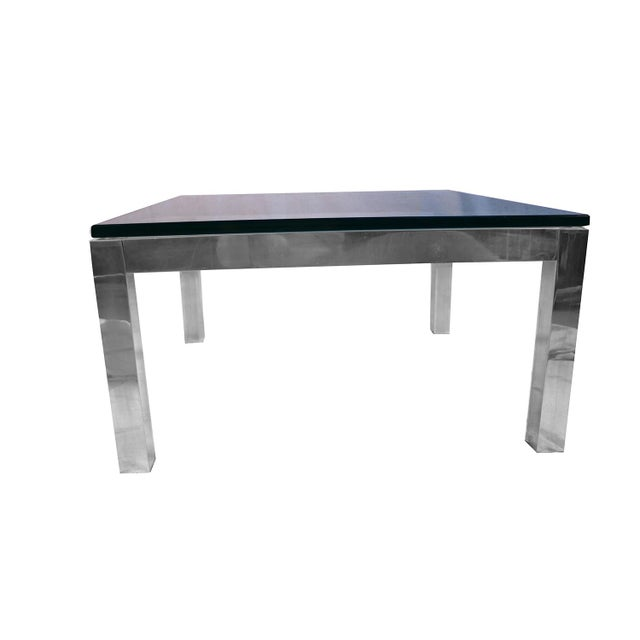Mid Century Modern Chrome & Glass Coffee Table Milo Baughman Style For Sale - Image 10 of 11