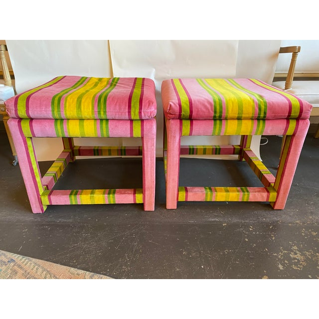 Textile Pair of Velvet Pink and Green Stripe Milo Baughman Style Parson Benches For Sale - Image 7 of 7