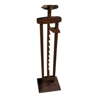 Vintage Early American Style Masonic Wood Candlestick For Sale