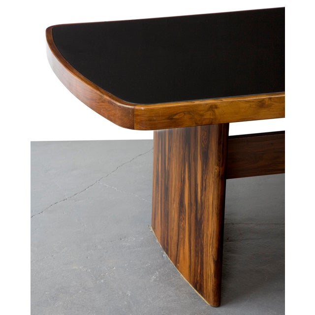 Joaquim Tenreiro Soft-Edged Rectangular Dining Table in Rosewood With Black Underpainted Glass Top and Curved Legs For Sale - Image 4 of 9