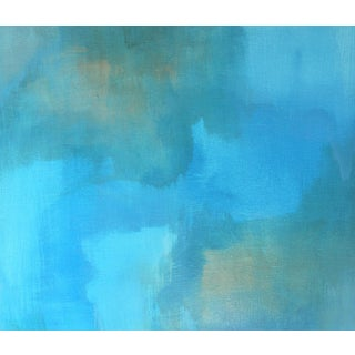 """""""Glazed Earth"""" Contemporary Blue Abstract Stretched Canvas Giclee Print For Sale"""