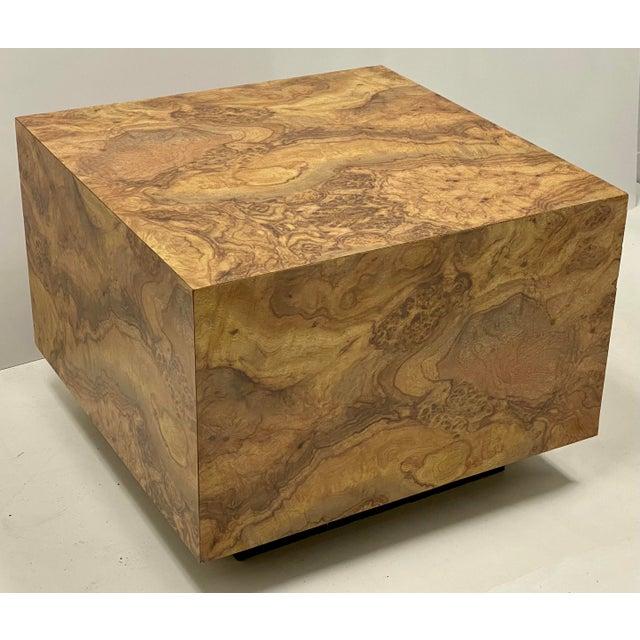 Milo Baughman Milo Baughman Style Modern Faux Burlwood Laminate Cube Coffee Table For Sale - Image 4 of 4