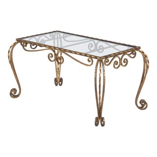 French Mid-Century Gilded Metal Coffee Table, 1940s For Sale