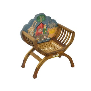 Unusual Noah's Ark Carved & Painted Childs 'X' Form Chair