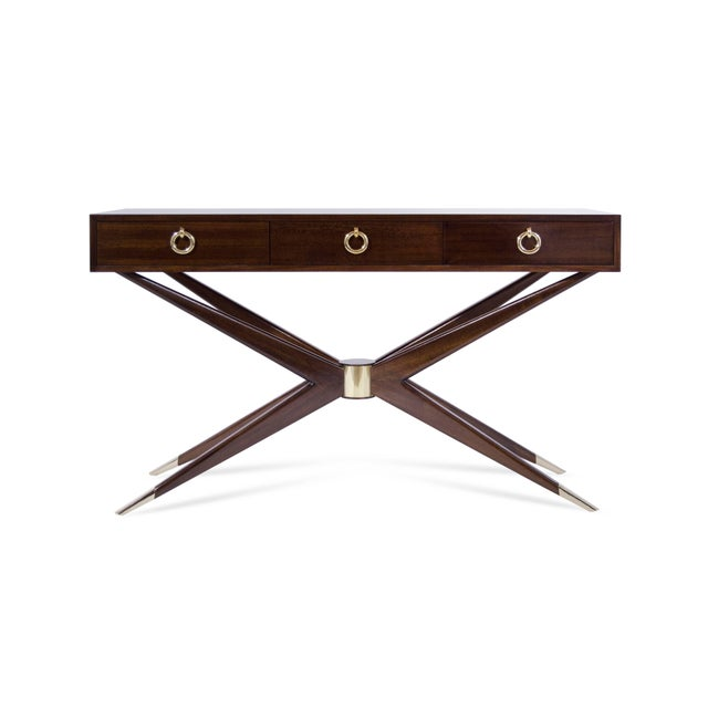 Handcrafted from solid mahogany. Tapered extremities converge on a brass cylinder. Brass sabots add the perfect touch of...