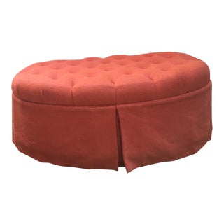 Orange Oval Tufted Ottoman