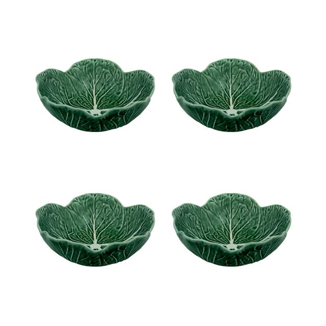 Bordallo Pinheiro Cabbage Cereal Bowl 17 oz in Green, Set of 4 For Sale In New York - Image 6 of 6
