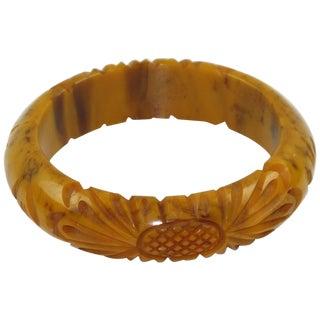 Bakelite Deep Floral Carved Bracelet Bangle Banana Brown Marble Color For Sale