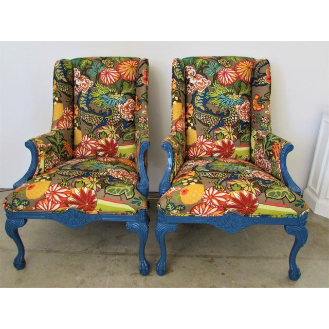Pair of English Lacquered Georgian Style Gainsborough Armchairs For Sale - Image 11 of 11