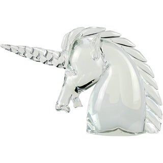 Archimede Seguso Murano Crystal Clear Italian Art Glass Unicorn Head Sculpture For Sale