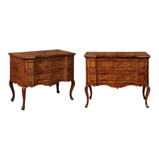 Pair of Italian Burl Walnut Two-Drawer Commodes from a Villa in Pienza, Tuscany For Sale