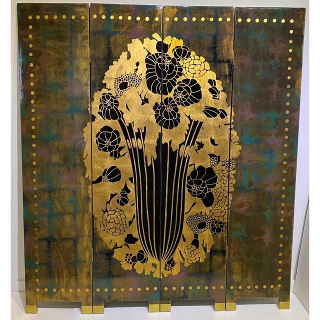 This stylish and chic art deco style lacquered, four panel folding screen has taken its inspiration from a cabinet...