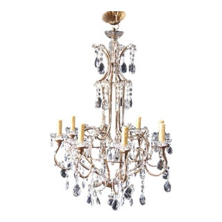 Italian Gilt Metal & Crystal Chandelier For Sale