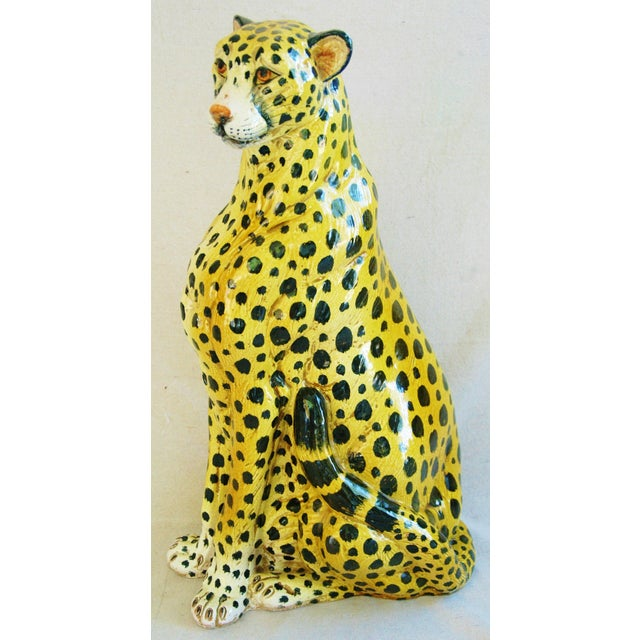 Large Hand-Painted Italain Terracotta Cheetah - Image 10 of 11
