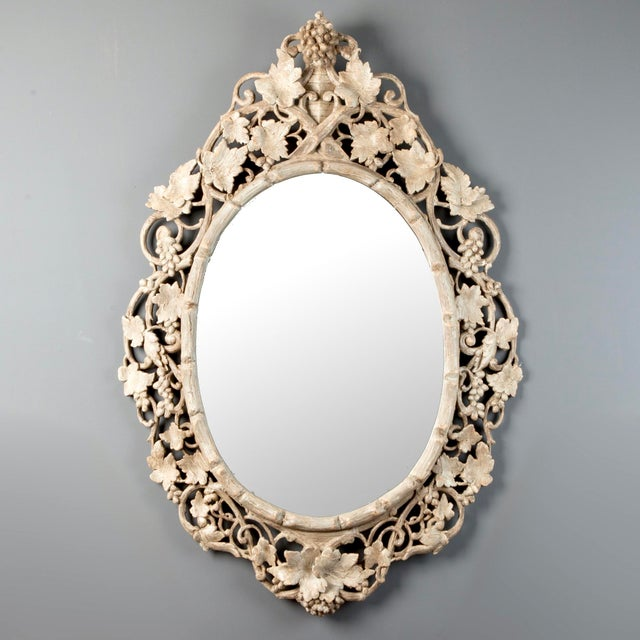 Large 1930's French Beveled Oval Mirror With Carved Grape Vines - Image 2 of 7