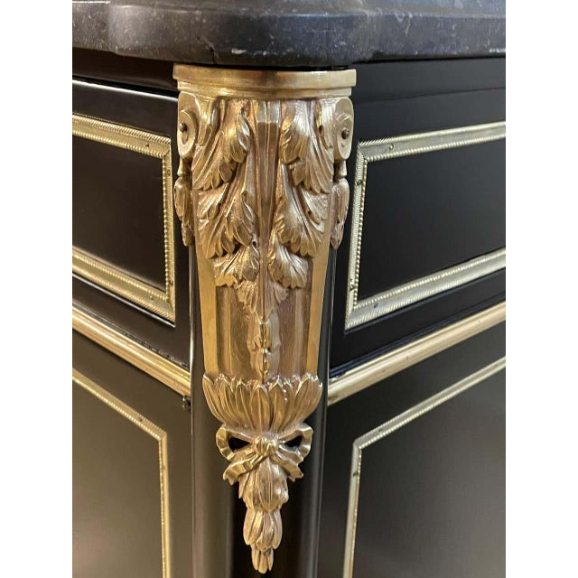 Ebony Hollywood Regency Commode or Sideboard Stamped Maison Jansen. Made France For Sale - Image 11 of 12