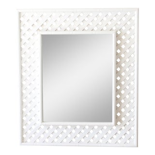 1950s Chinoiserie Off-White Bamboo Lattice Recangular Mirror For Sale