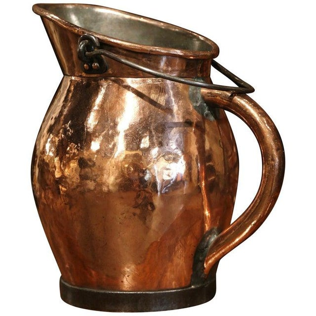 19th Century French Polished Copper and Iron Decorative Coal Bucket For Sale - Image 10 of 10