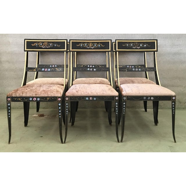 About Early Regency or Gustavian Bellman Chair after Sheraton, Set of Six Iron Chairs Hand Painted in Polychrome and Gold...
