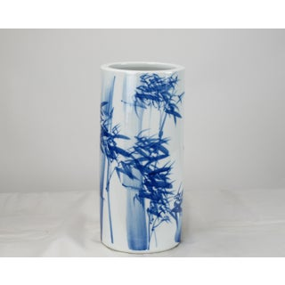Chinoiserie Blue and White Porcelain Waving Bamboo Vase Preview