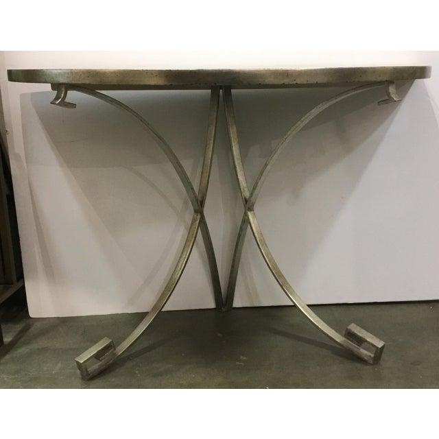 Stylish Vanguard modern metal and stone demi-lune/console table, showroom floor sample, original retail $1760