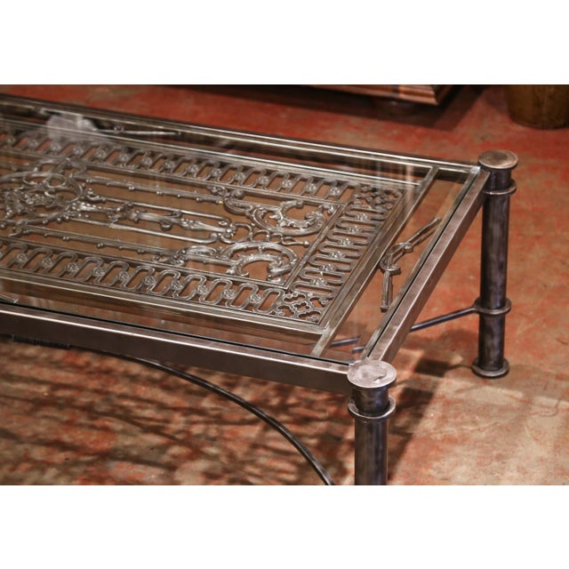 Iron Coffee Table Made With 19th Century French Gate Balcony With Glass Top For Sale In Dallas - Image 6 of 13
