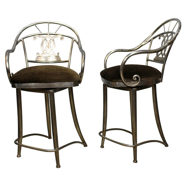 Bar Stools With Swivel Seat - Pair - Image 1 of 5