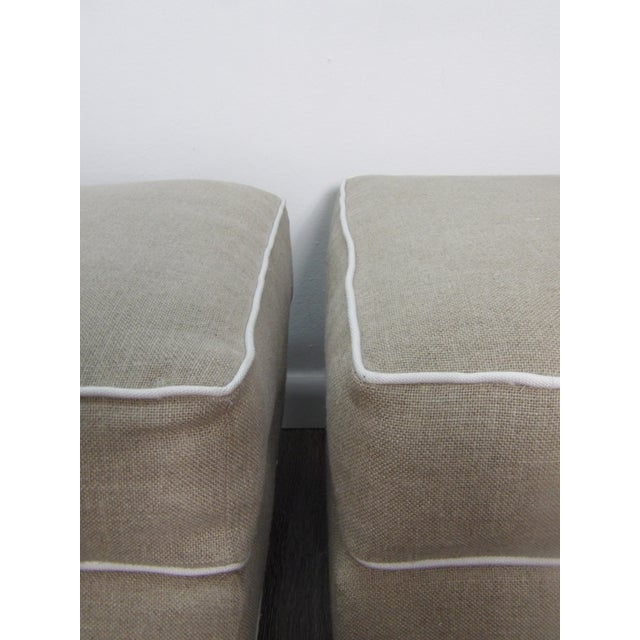 Contemporary Baker Furniture Ottomans in New Upholstery- a Pair For Sale - Image 3 of 9