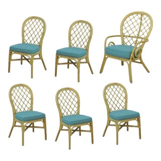 Set 6 Vintage Rattan Bamboo Dining Chairs Beach House Hollywood Regency Sunroom
