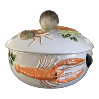 Lobster and Shellfish Majolica Tureen Bouillabaisse Bowl For Sale