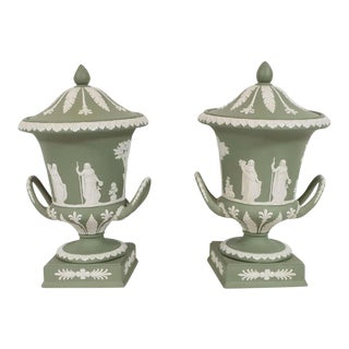 Wedgwood Neoclassical Jasperware Ceramic Covered Urns in Olive & White - a Pair For Sale
