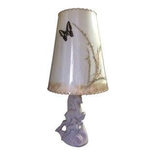 Vintage Van Briggle Cream Leaping Deer Lamp For Sale