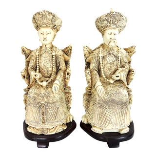 Vintage Chinese Faux Ivory Emperor and Empress Statues - a Pair, With Stands For Sale