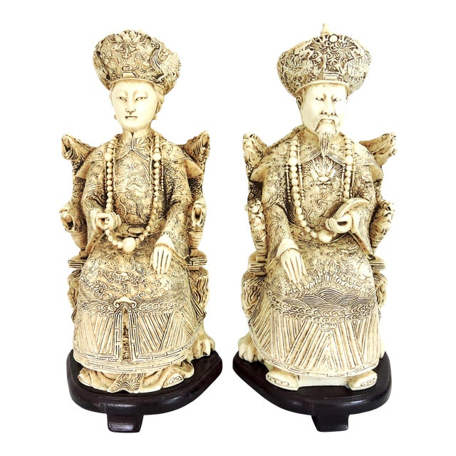 Vintage Chinese Faux Ivory Emperor and Empress Statues or Figures - a Pair, With Stands For Sale