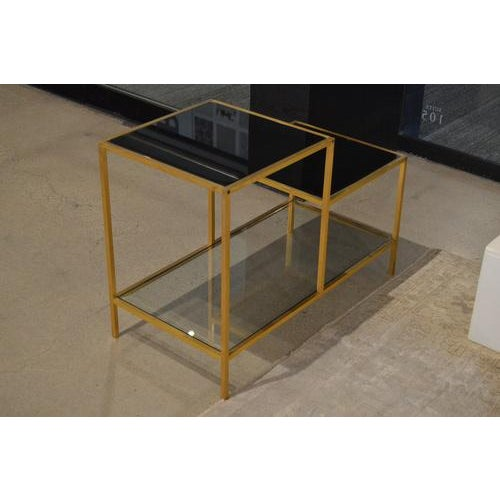 Vintage Gilt Metal End Table With Smoked Glass, France, C.1970 For Sale - Image 4 of 7