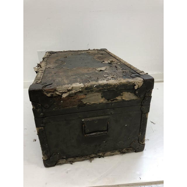 Vintage Industrial Green Military Foot Locker Trunk For Sale - Image 10 of 13