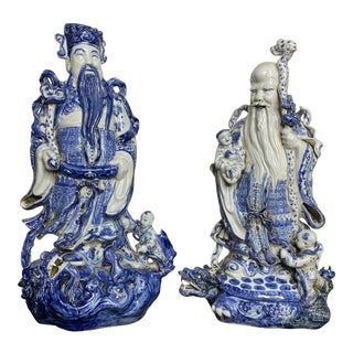 Vintage Chinese Blue & White Figures - Set of 2 For Sale