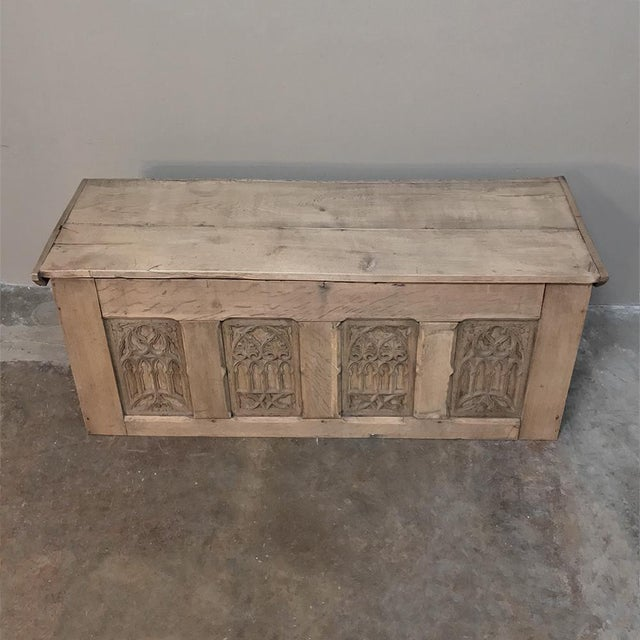 Gothic Trunk, 19th Century Rustic Gothic in Stripped Oak For Sale - Image 3 of 12