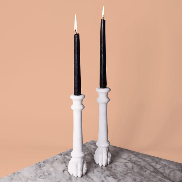 Carved from solid white marble, these candlesticks from Simon Paul Scott were inspired by the works of American designer...