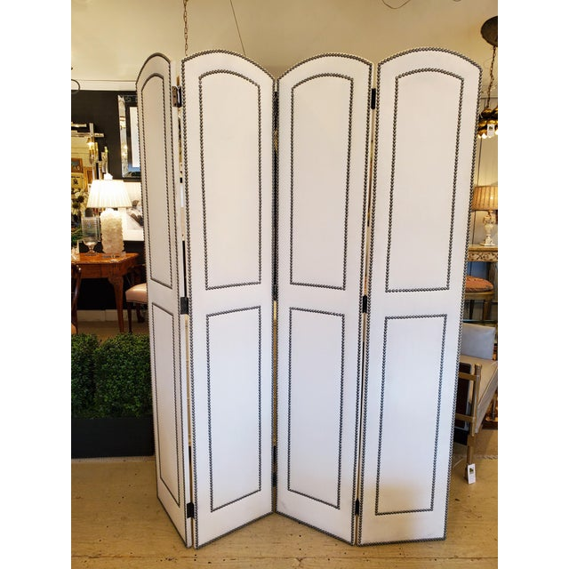 Upholstered 4 Panel Screen With Nailheads For Sale - Image 11 of 11