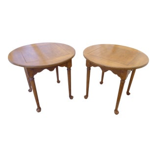 Vintage Queen Anne Style Drexel Walnut End Tables - a Pair For Sale