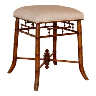 19th Century French Faux Bamboo Stool For Sale