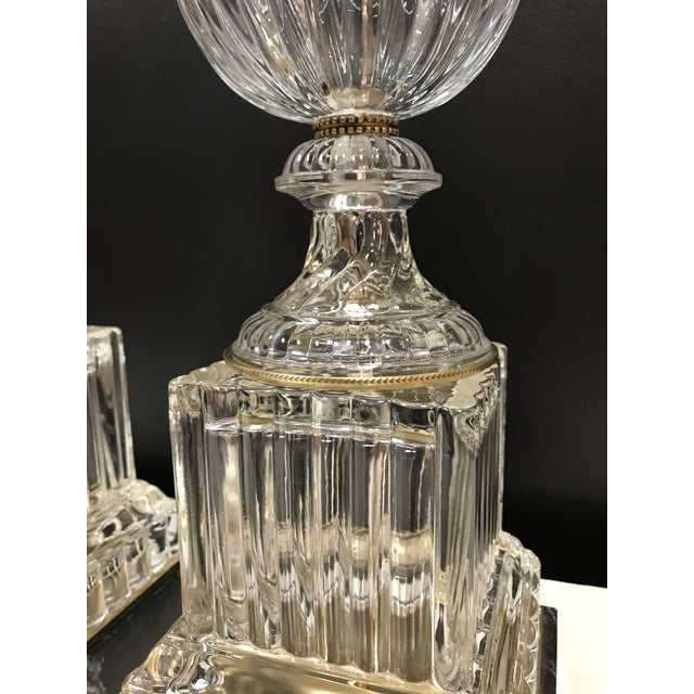 Baccarat Style Paul Hanson Hollywood Regency Glass Crystal Bronze Spiral Urn Table Lamps on Marble Base - a Pair For Sale - Image 10 of 11