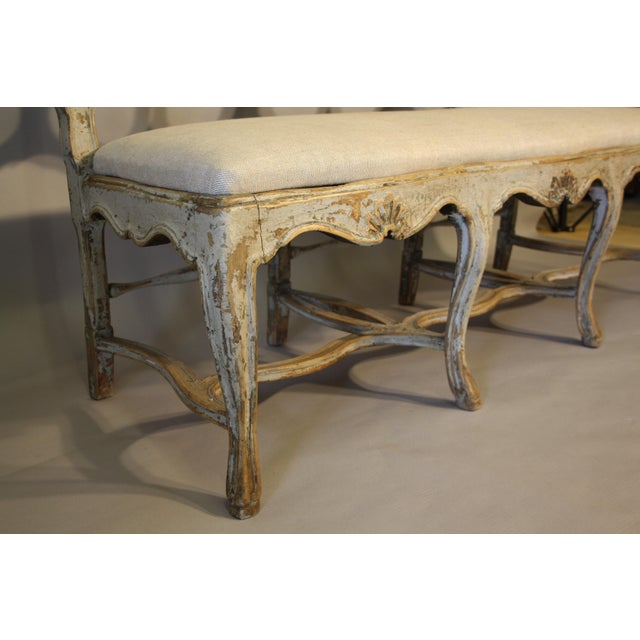 Paint 19th C Portuguese Carved Wood Bench For Sale - Image 7 of 11