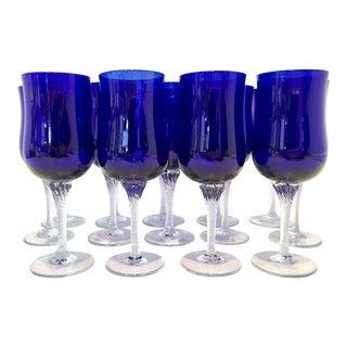 Vintage Cobalt to Clear Cut Crystal Stem Glasses - Set of 14
